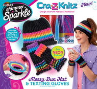 Shimmer 'N Sparkle CRA-Z-Knitz Messy Bun Hat & Texting Gloves