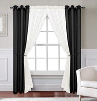 Jolie 6-Piece - Black/Ivory - Window Curtain Set
