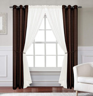 Jolie 6-Piece - Chocolate/Ivory - Window Curtain Set