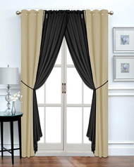 Harris 6-Piece - Tan/Black - Blackout Window Curtain Set