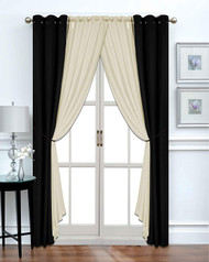 Harris 6-Piece - Black/Taupe - Blackout Window Curtain Set