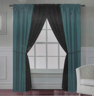 Sahara 6-Piece - Teal/Black - Window Curtain Set