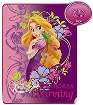 "Disney Princess Rapunzel Tangled Micro Raschel Blanket Throw ""PRINCESS Charming"""