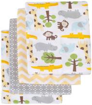 Carter's Receiving Blanket, Green/Yellow Safari, 4 Count