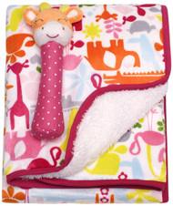 Carter's Velour Sherpa Blanket with Rattle, Giraffe