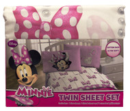 Disney Minnie Mouse Boutique Faux Fun Twin Sheet Set