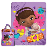 Disney Doc McStuffins, Hugs Here Silk Touch 40 by 50-Inch Throw with Reusable Canvas Tote Set