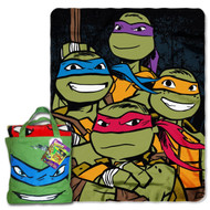 """Nickelodeon TMNT """"Turtle Fighters"""" 40-inch by 50-inch Silk Touch Throw with Reusable Canvas Tote Set"""