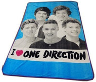 """One Direction Twin / Full Size Plush Blanket - """"I Love 1D"""""""