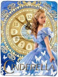 "Disney Cinderella 2015 Clock Strikes Super Plush Throw 46""x60"""