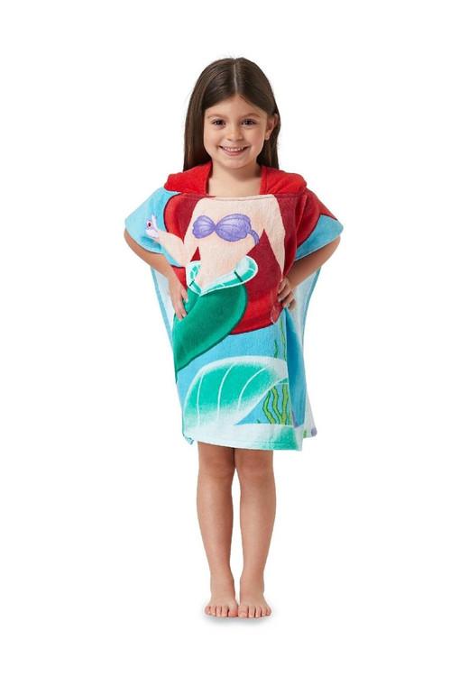 Disney Princess Ariel Hooded Bath Beach Poncho Towel 22 In X