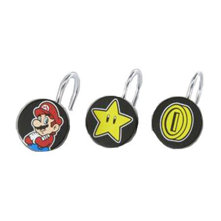 Super Mario Shower Curtain Ring Hooks Image 1