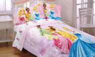 "Disney Princess ""Dreams in Bloom"" Full Size Comforter - Belle, Cinderella, Aurora, Tiana"