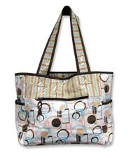 Trend Lab Cocoa Dots Tulip Tote Style Diaper Bag, White