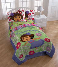 "Nickelodeon Dora The Explorer ""Picnic"" Comforter with 2 Shams, Full"