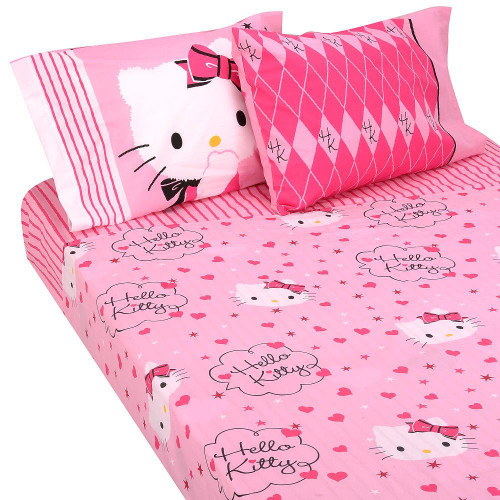 Hello Kitty Sweet and Sassy 4pc Full Sheet Set  Kids Whs