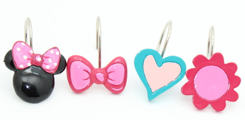 Disney Minnie Mouse Fuschia Hearts Shower Curtain Hooks