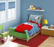 "Peanuts ""Snoopy On The House"" Toddler Bed Set, Blue"