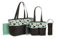 Carter's Floral Print Diaper Bag Set, Grey/Mint, 5pc