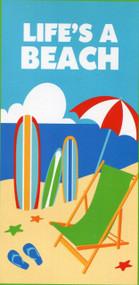 "Large Beach / Pool Towel - 100% Cotton (28"" x 58"") - Life is a Beach"