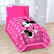 """Minnie Mouse 'Pink Hearts' Twin/Full Size Plush Blanket - 62"""" by 90"""""""