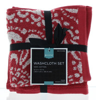 """Global Red Medallion 4pk Washcloths - 100% Cotton - 12""""x12"""" - Highly Absorbent"""