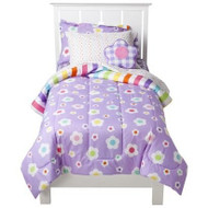 Just For Kids Girls Mix N' Match Flowers 5pcs Twin Bed Set - Bed in a Bag