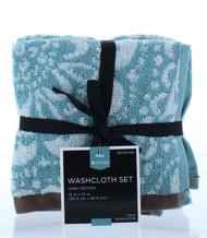 "Global Aqua Medallion 4pk Washcloths - 100% Cotton - 12""x12"" - Highly Absorbent"