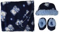 Lovespun Baby Boys' Bouncing Bear 3 Piece Blanket Set