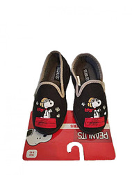 Peanuts Snoopy Boys Micro Suede Slippers House Shoes (S 5/6, Black)