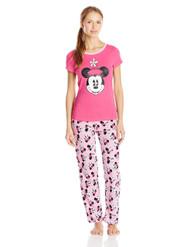 Disney Women's Ladies Knit Pajama Set Minnie