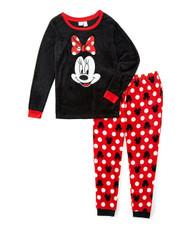 Disney Women's Ladies Minky Pajama Set Minnie Red Bow