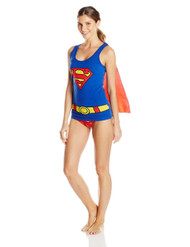 DC Comics Women's Ladies Tank and Panty Set Supergirl, Blue, Small