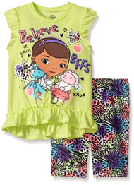 Disney Little Girls' Doc McStuffins Bike Short Set, Yellow, 4