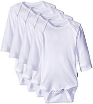 Jockey Unisex-Baby 4Pk White Long Sleeve Bodysuit, 6-9 Months