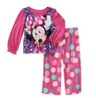 Disney Minnie Mouse Baby Girls Toddler 2-Pc Fleece Pajama Set, 12 Months