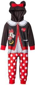 Disney Big Girls' Cardigan Minnie Mouse Hooded Blanket Sleeper, Black, 8