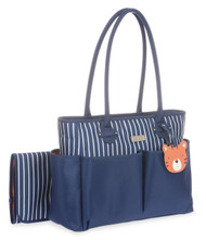 Carter's Novelty Tote Diaper Bag with Tiger Tag, Navy/White