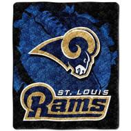 "NFL St. Louis Rams Sherpa on Sherpa Throw Blanket ""Burst"" Design"
