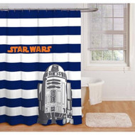 Star Wars Blue & White Stripes Peva Shower Curtain