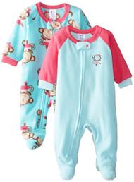 Gerber Little Girls' 2 Pack Blanket Sleepers,Ballet Monkey,5T