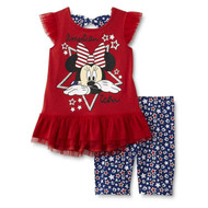 Disney Minnie Mouse Girl's Ruffle Sleeve Top & Bike Shorts