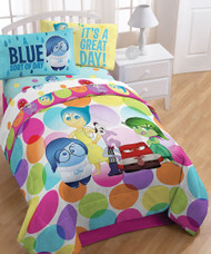 """Disney Inside Out Dots 72"""" x 86"""" Reversible Twin/full Comforter"""