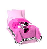 "Minnie Mouse 'Zebra' Twin / Full Size Plush Blanket - 62"" by 90"""