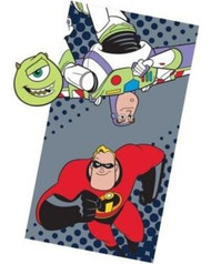 Disney Pixar 'Filmstrip' Bath Towel and Wash Mitt Set - Toy Story, Incredibles, Monster Inc.