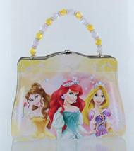 Disney Princess Purse Shaped Tin Box With Beaded Handle-Yellow