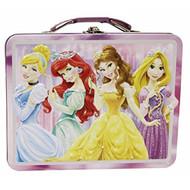 Disney Princess - Metal Lunch Box - Tin Case w/ Plastic Handle & Clasp-Purple