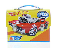 Hot Wheels - Metal Lunch Box - Tin Case w/ Plastic Handle & Clasp-Yellow