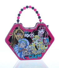Monster High Purse Shaped Tin Box With Beaded Handle-Pink
