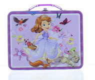 Disney Sofia the First - Metal Lunch Box - Tin Case w/ Plastic Handle & Clasp (Animals)